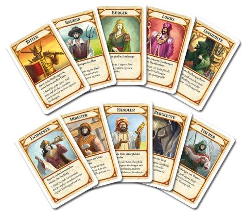 Kingdom Builder Karten - Ritter, Bauer, Bürger, Lords, Einsiedler, Entdecker, Arbeiter, Händler, Bergleute, Fischer