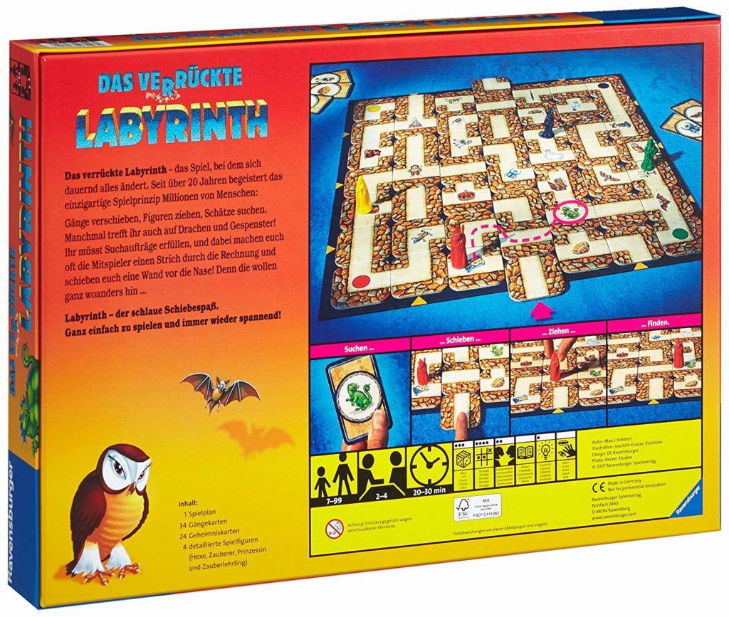 Das verrückte Labyrinth: Rückseite der Verpackung