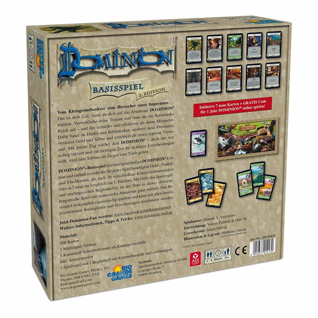 Dominion Rückseite der Spieleverpackung