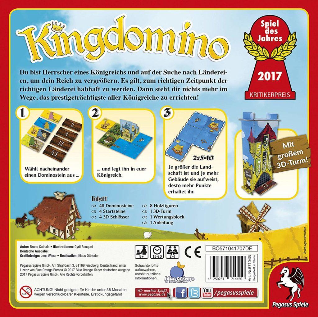 Rückseite der Kingdomino-Spielverpackung