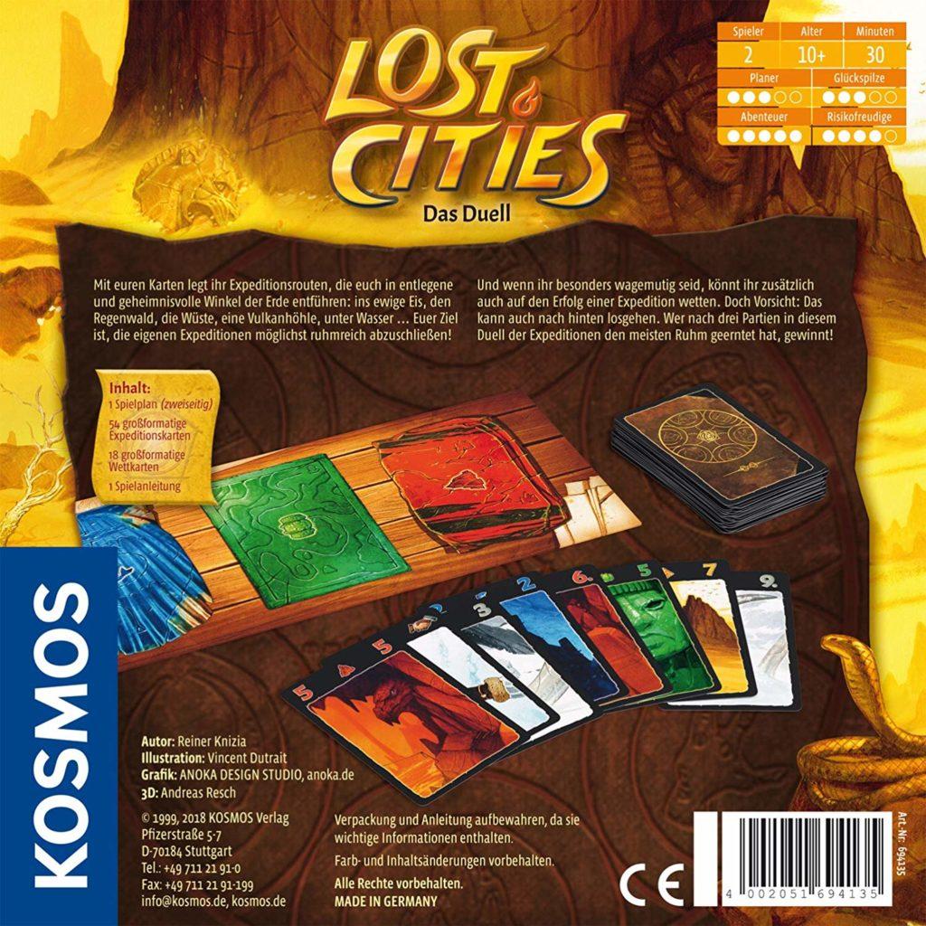 Rückseite der Spielverpackung von Lost Cities