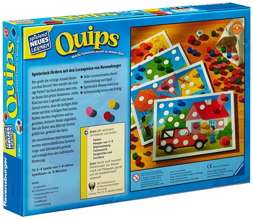 Rückseite der Spielverpackung von Quips