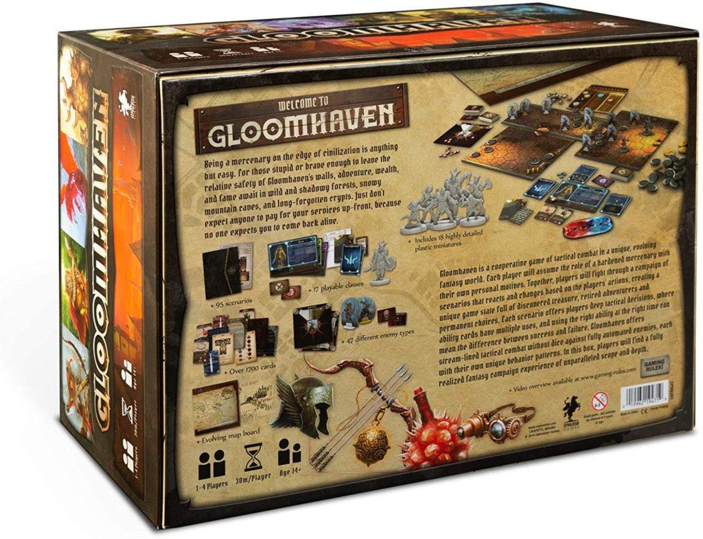 Rückseite der Gloomhaven Spielverpackung