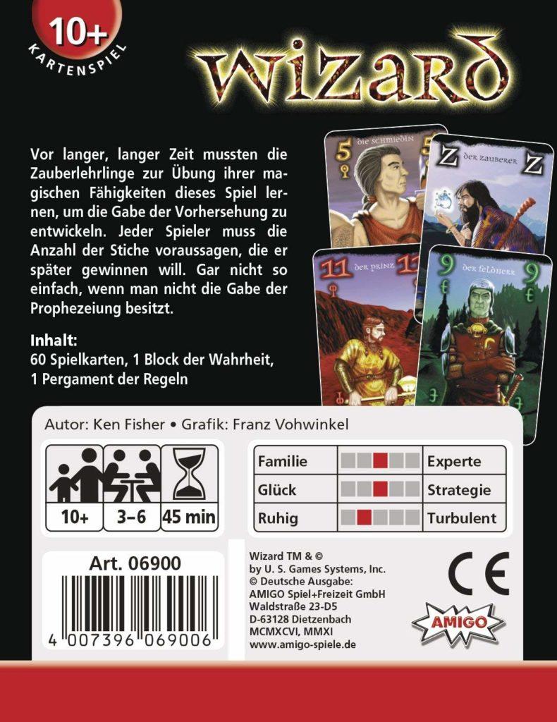 Rückseite der Spielverpackung von Wizard