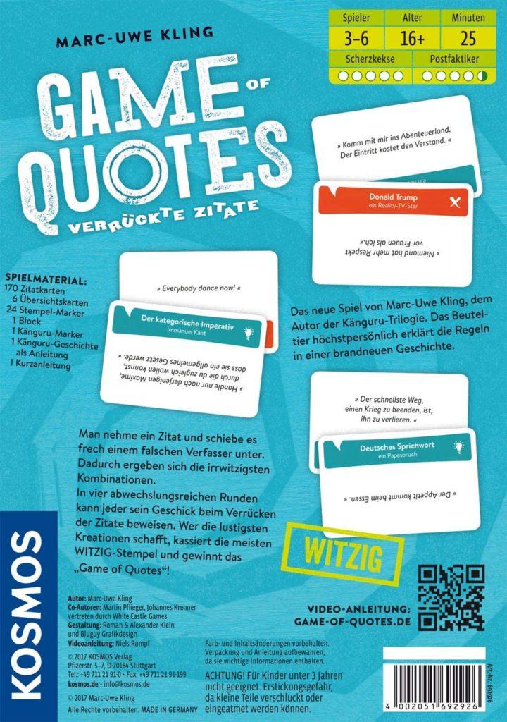 Rückseite der Spielverpackung von Game of Quotes