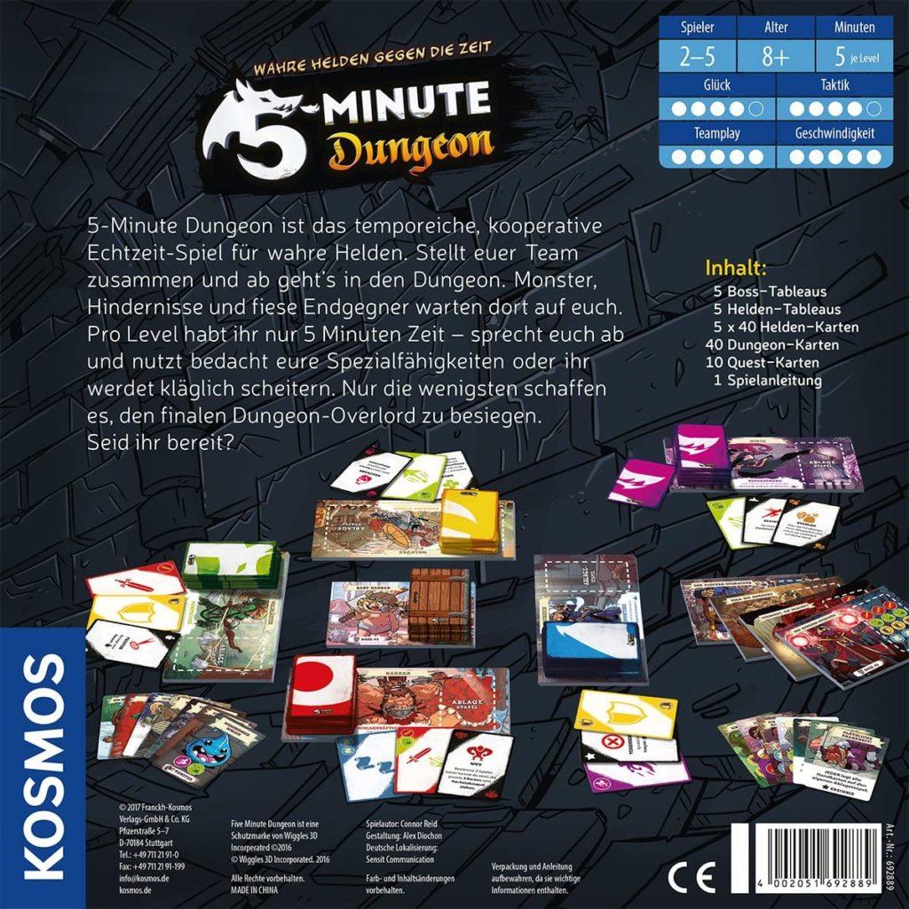 Rückseite der Spielverpackung von 5 Minute Dungeon