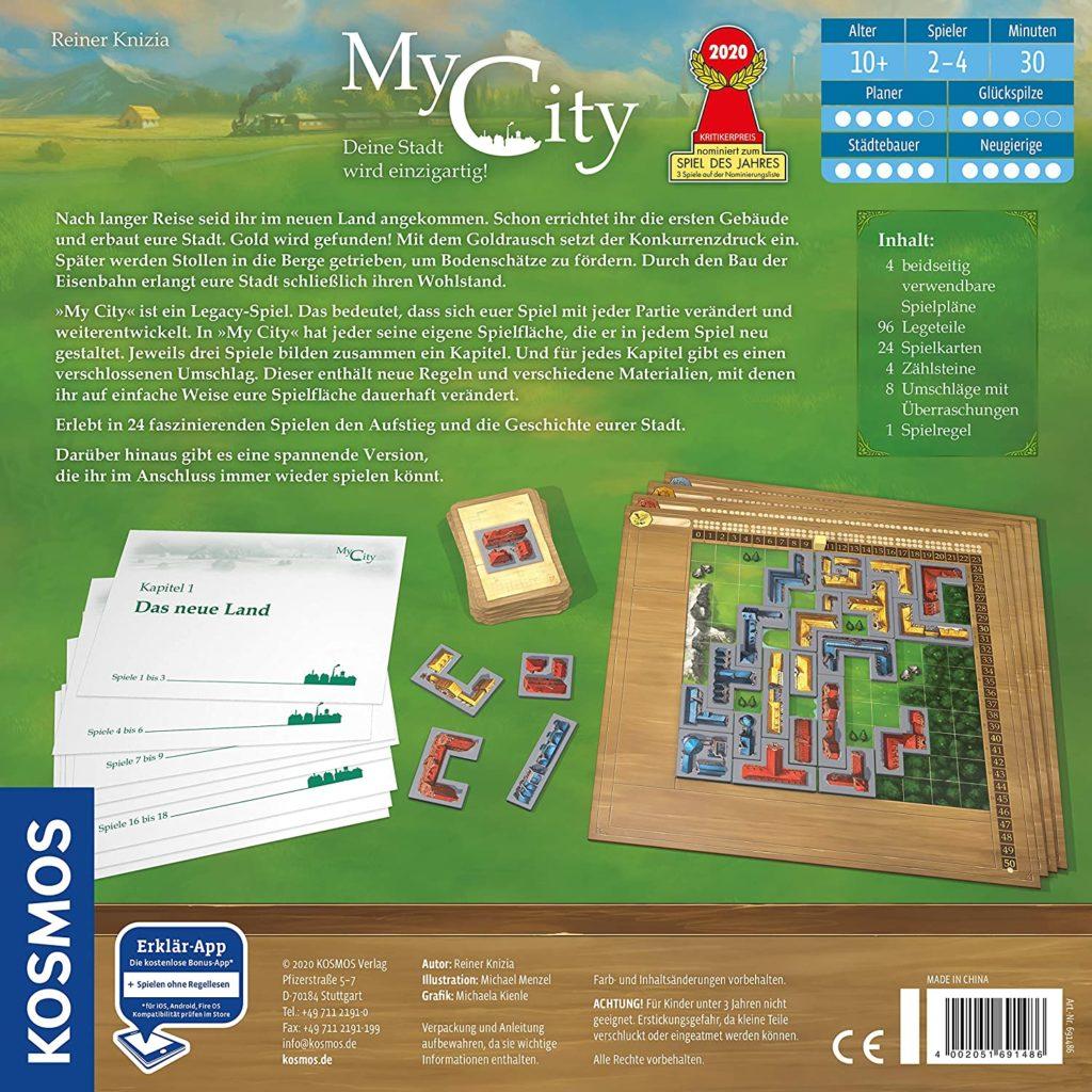 Rückseite der Spielverpackung von My City
