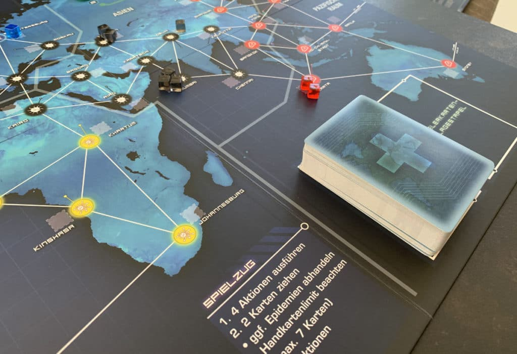 Spielerkarten Zug- und Ablagestapel in Pandemic Legacy